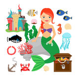 Cute mermaid with marine life Stock Image