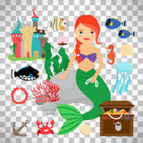 Cute mermaid with marine life Royalty Free Stock Photography