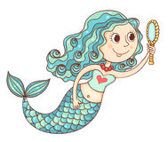 Cute mermaid with mirror Royalty Free Stock Photography