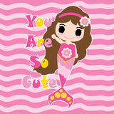 Cute mermaid on pink striped background  cartoon, children postcard, wallpaper, and greeting card Stock Image