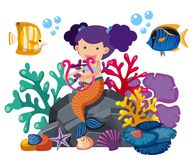 Cute mermaid playing harp with fish underwater. Illustration Royalty Free Stock Photo