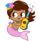 Cute mermaid playing music with her guitar. Royalty Free Stock Photos
