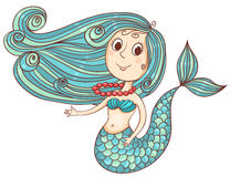 Cute mermaid with red beads. Isolated on white.Vector cartoon illustration Stock Images