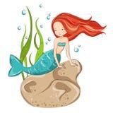 Cute mermaid. Mermaid on the reef.  She is hostess underwater ocean world. Vector isolated Stock Image