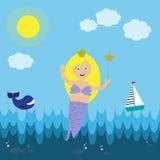 Cute mermaid on the sea Stock Photos
