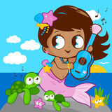 Cute mermaid by the sea playing music with her guitar. Vector Illustration of a cute mermaid sitting on a rock by the sea playing music with her guitar. Sea Royalty Free Stock Photography
