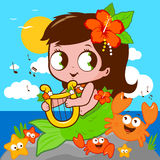 Cute mermaid by the sea playing music with her lyre Royalty Free Stock Photo
