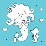 Cute Mermaid and seahorse Coloring book Stock Images