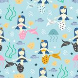 Cute mermaid seamless pattern with childish drawing style colorful background for summer holiday kids, baby, teenager, and. Children fashion textile print and vector illustration