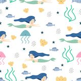 Cute mermaid seamless pattern with childish drawing style colorful background for summer holiday kids, baby, teenager, and. Children fashion textile print and royalty free illustration