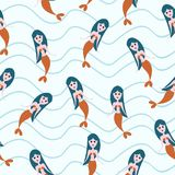 Cute mermaid seamless pattern with childish drawing style colorful background for summer holiday kids, baby, teenager, and. Children fashion textile print and stock illustration