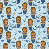 Cute mermaid seamless pattern with fantasy drawing colorful background for kids and children. Good for baby fashion textile print. Fin underwater summer girl royalty free illustration
