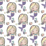 Cute mermaid seamless pattern. Cute mermaid with shells seamless pattern for funny design Stock Photo