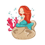 Cute mermaid. Mermaid is sitting on the reef. She is hostess underwater ocean world. Vector isolated on white background Stock Photo