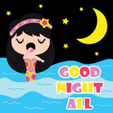 Cute mermaid is sleepy on night background  cartoon, Kid nursery wall, wallpaper, and greeting card Royalty Free Stock Photos