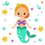 Cute Mermaid with starfishes. Cartoon character, kawaii style. vector illustration. Cute Mermaid with starfishes. Cartoon character, kawaii style. Fairy undine Royalty Free Stock Photography