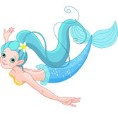 Cute Mermaid swimming Stock Image
