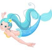 Cute Mermaid swimming Stock Image