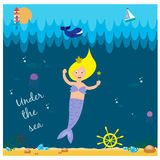 Cute mermaid under the sea Royalty Free Stock Photos