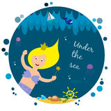 Cute mermaid under the sea Royalty Free Stock Images