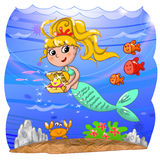Cute mermaid under water Royalty Free Stock Images