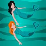 Cute mermaid vector cartoon illustration Royalty Free Stock Image