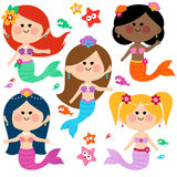 Cute mermaid vector set. Vector Illustration of a cute colorful mermaid princesses, fish and starfish vector set Stock Photos