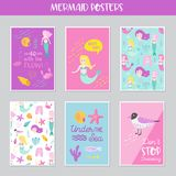 Cute Mermaids Cards Set with Underwater Creatures. For Greeting, Baby Shower Invitation, Print, Posters. Hand Drawn Childish Marine Design. Vector illustration Royalty Free Stock Images