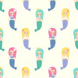 Cute mermaids girls with colorful hairs seamless pattern on white background. Royalty Free Stock Images