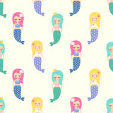 Cute mermaids girls with colorful hairs seamless pattern on white background. Stock Photography