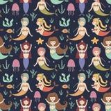 Cute mermaids seamless pattern Stock Image