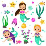 Cute mermaids set and design elements. Stickers, clip art for girls in kawaii style. Alga, octopus, fish and other fairy symbols. For invitations, scrapbook Stock Photo