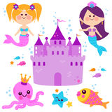 Cute mermaids underwater vector set. Pretty mermaid princesses, fish, octopus, and a castle vector set Royalty Free Stock Image