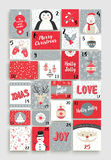 Cute Merry Christmas advent calendar for holiday Stock Photography