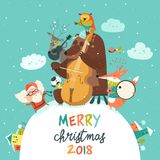 Cute Merry christmas card with animals, Santa and music Stock Images