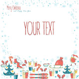 Cute Merry Christmas frame Stock Photography