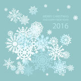 Cute Merry Christmas and happy new year card 2016. Art Stock Image