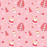 Cute Merry Christmas and Happy New Year seamless pattern. Excellent illustrative design elements stock images