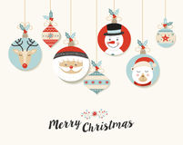 Cute Merry Christmas retro bauble greeting card Stock Photo