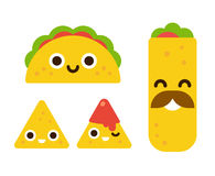 Cute mexican food. Mexican food with cute smiling faces. Taco, burrito and nachos with salsa in flat cartoon geometric style vector illustration