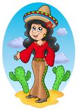 Cute Mexican girl in desert royalty free illustration