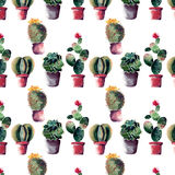 Cute mexican hawaii tropical green floral summer spring pattern of a colorful cactus in pots with flowers vertical pattern. Watercolor hand illustration Stock Images
