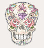 Cute mexican skull. Colorful skull with flower, gem Stock Images