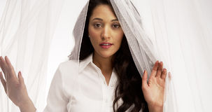 Cute Mexican woman standing behind veil looking at camera Stock Images