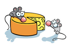 Cute mice and cheese. Cartoon illustration with cute mice and cheese Stock Image
