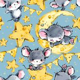 Cute mice greeting background. Funny cartoon mouse. royalty free illustration