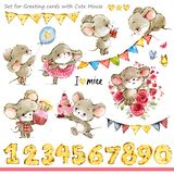 Cute mice illustration. Funny cartoon mouse royalty free illustration