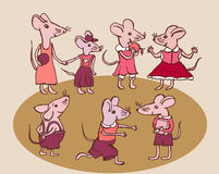 Cute mice kit. Illustration of cute mice kit running playing speaking in funny clothes Royalty Free Stock Photography