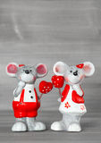Cute mice with red hearts. Love and Valentines Day Royalty Free Stock Images