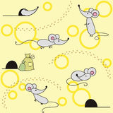 Cute mice on seamless background. Cute mice on seamless yellow background Royalty Free Stock Photography